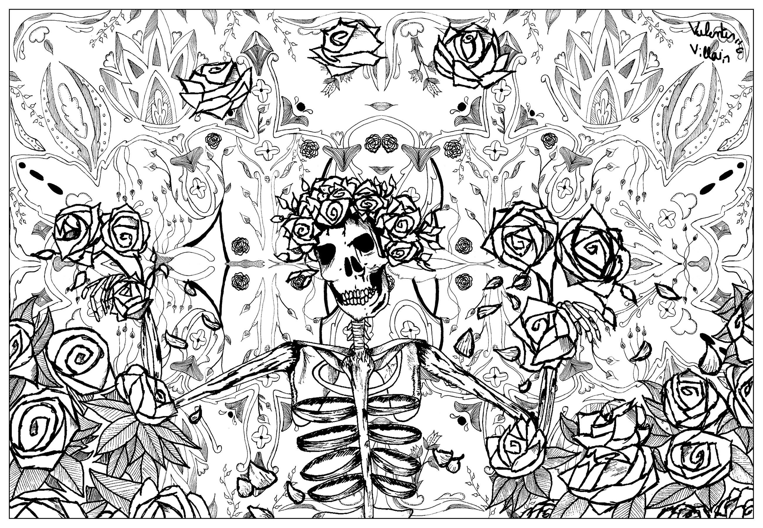 Coloring page adult grateful dead art by valentin