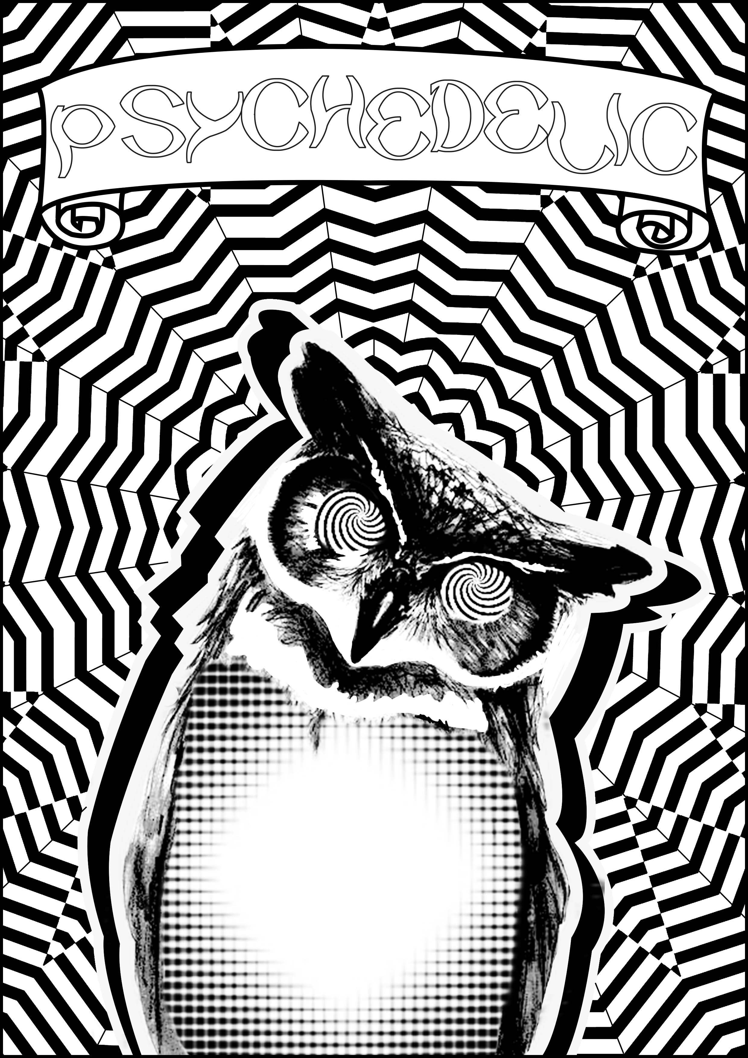 Color this psychedelic Owl ! | From the gallery : Psychedelic | Artist : Allan