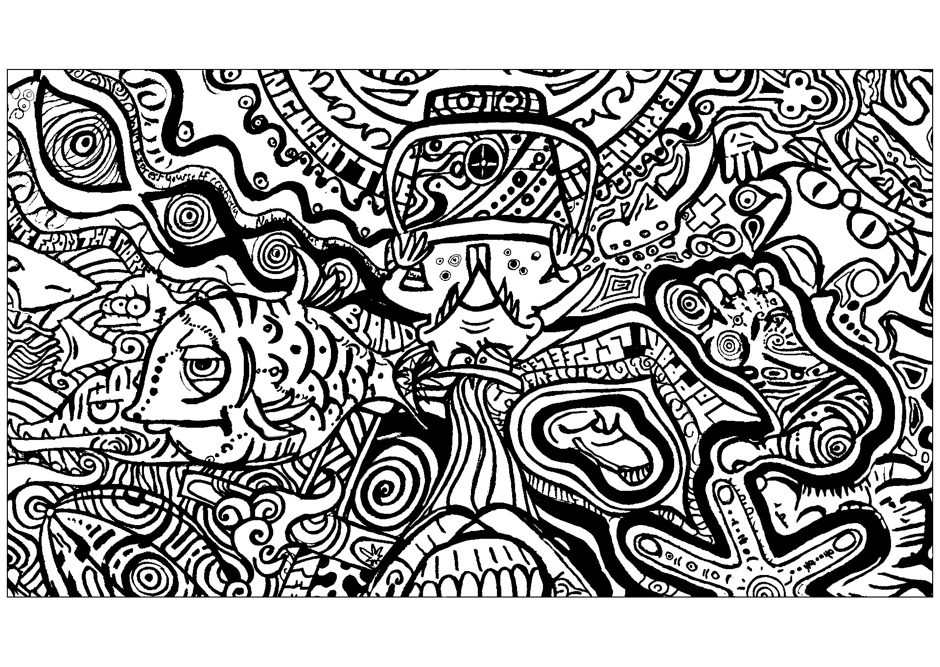 Psychedelic drawing with different subjects including a feet and a fish