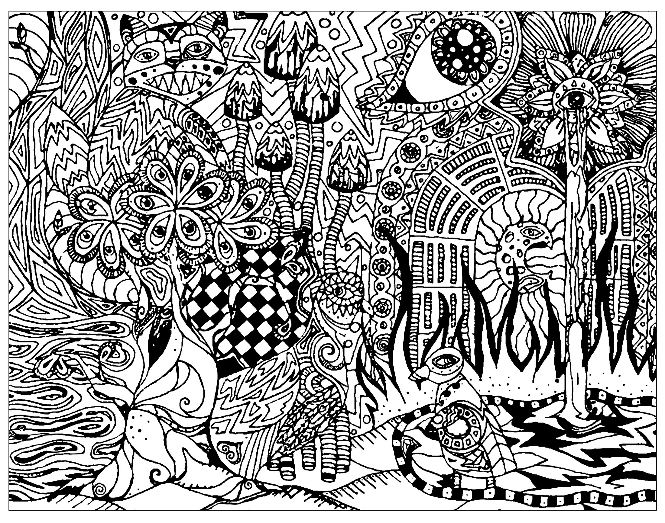 - Psychedelic Patterns Hidden Cat - Psychedelic Adult Coloring Pages