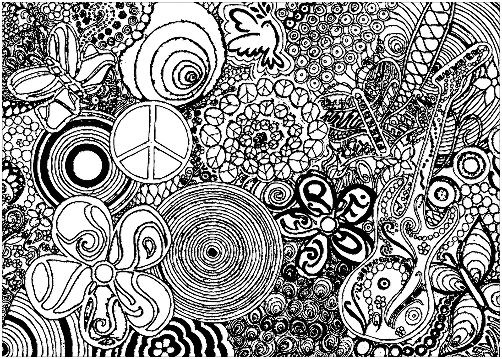 Psychedelic patterns music and peace - Psychedelic Adult Coloring Pages