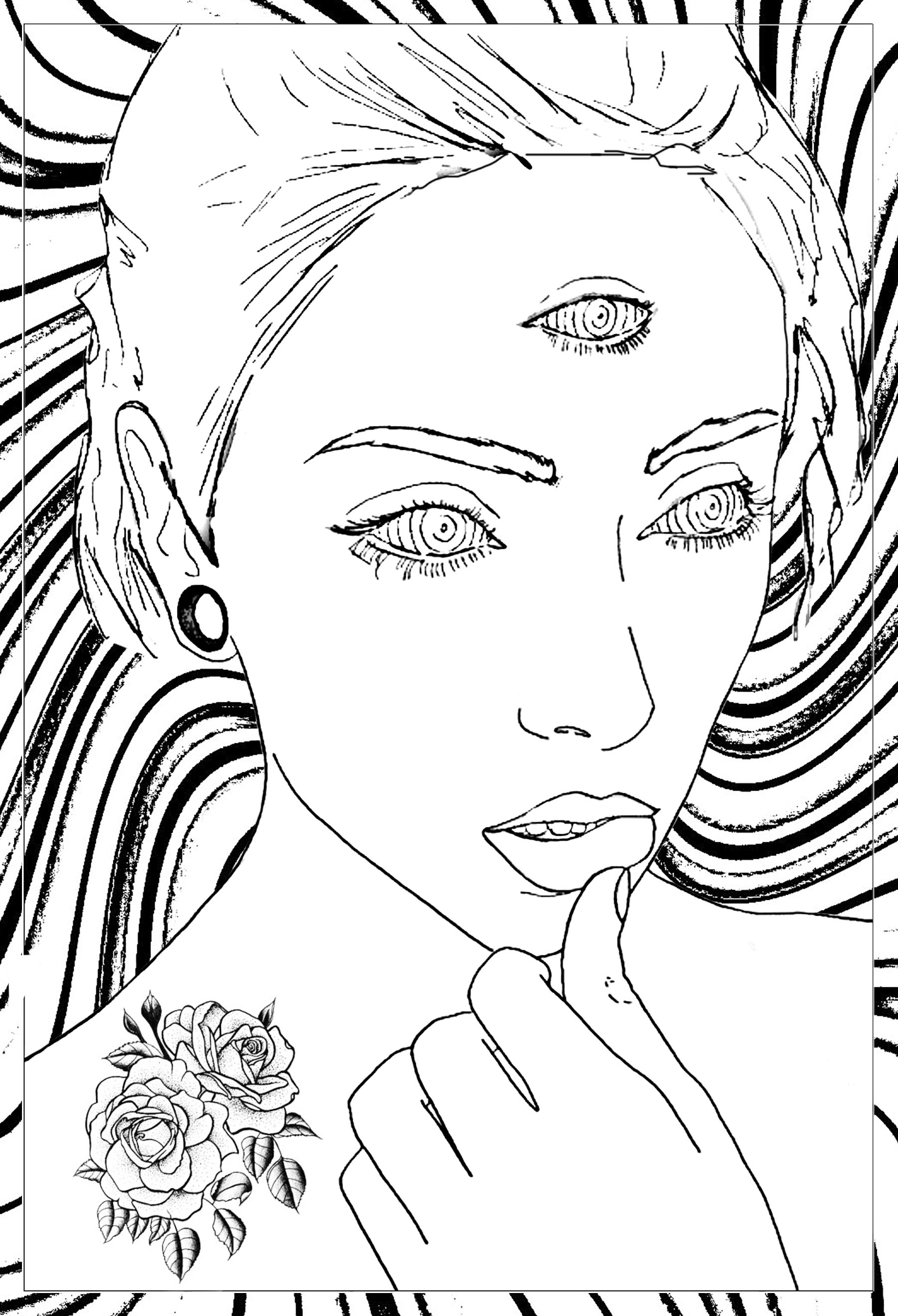 coloring page adult thoughtful woman