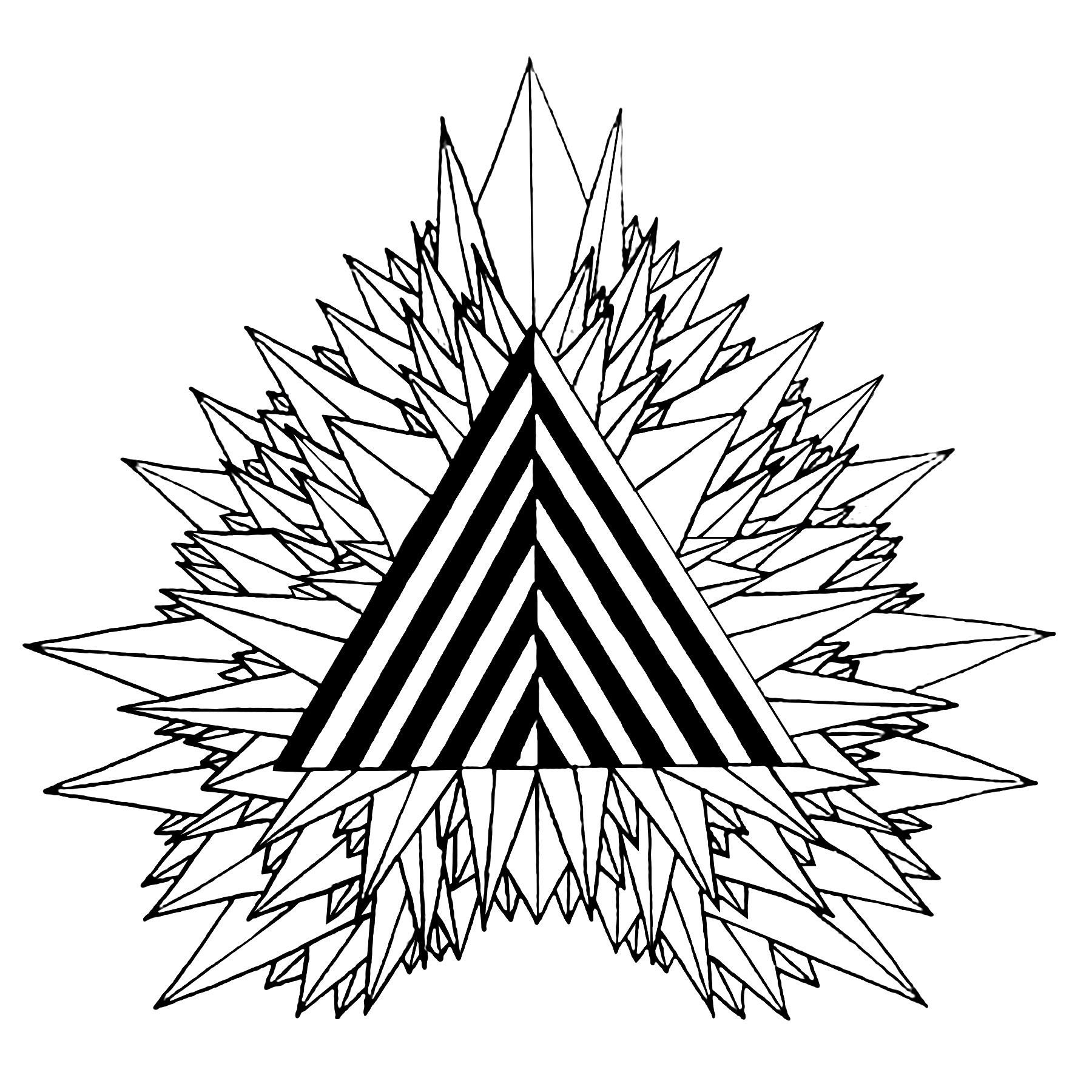 coloring page mystical triangle free to print