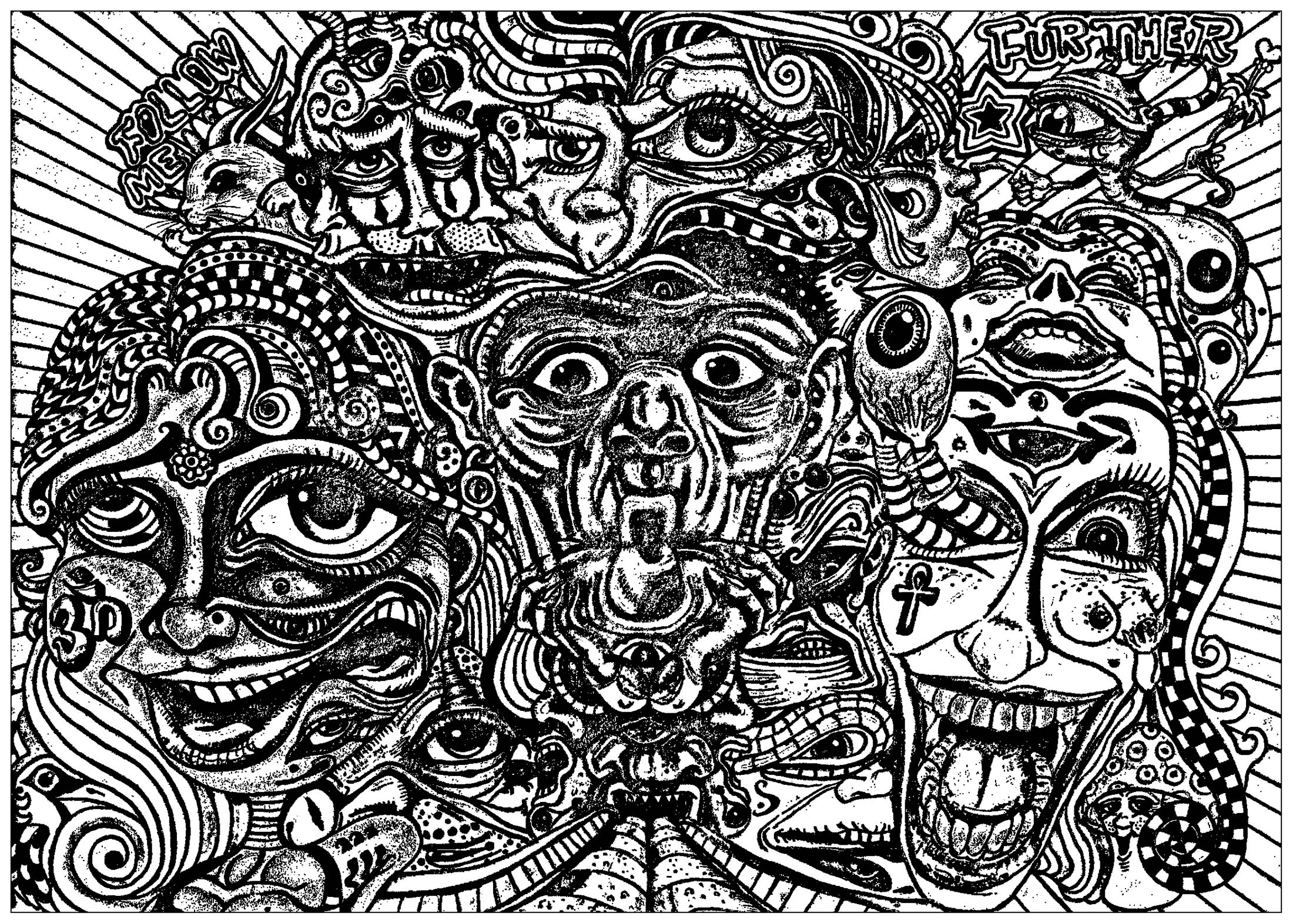 Coloring page psychedelic faces