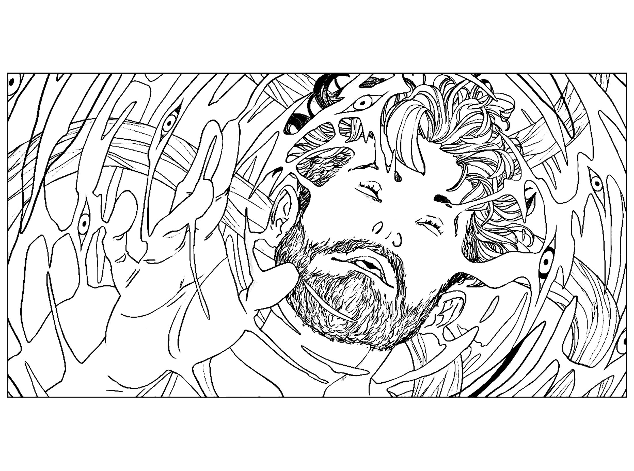 Psychedelic man - Psychedelic Adult Coloring Pages