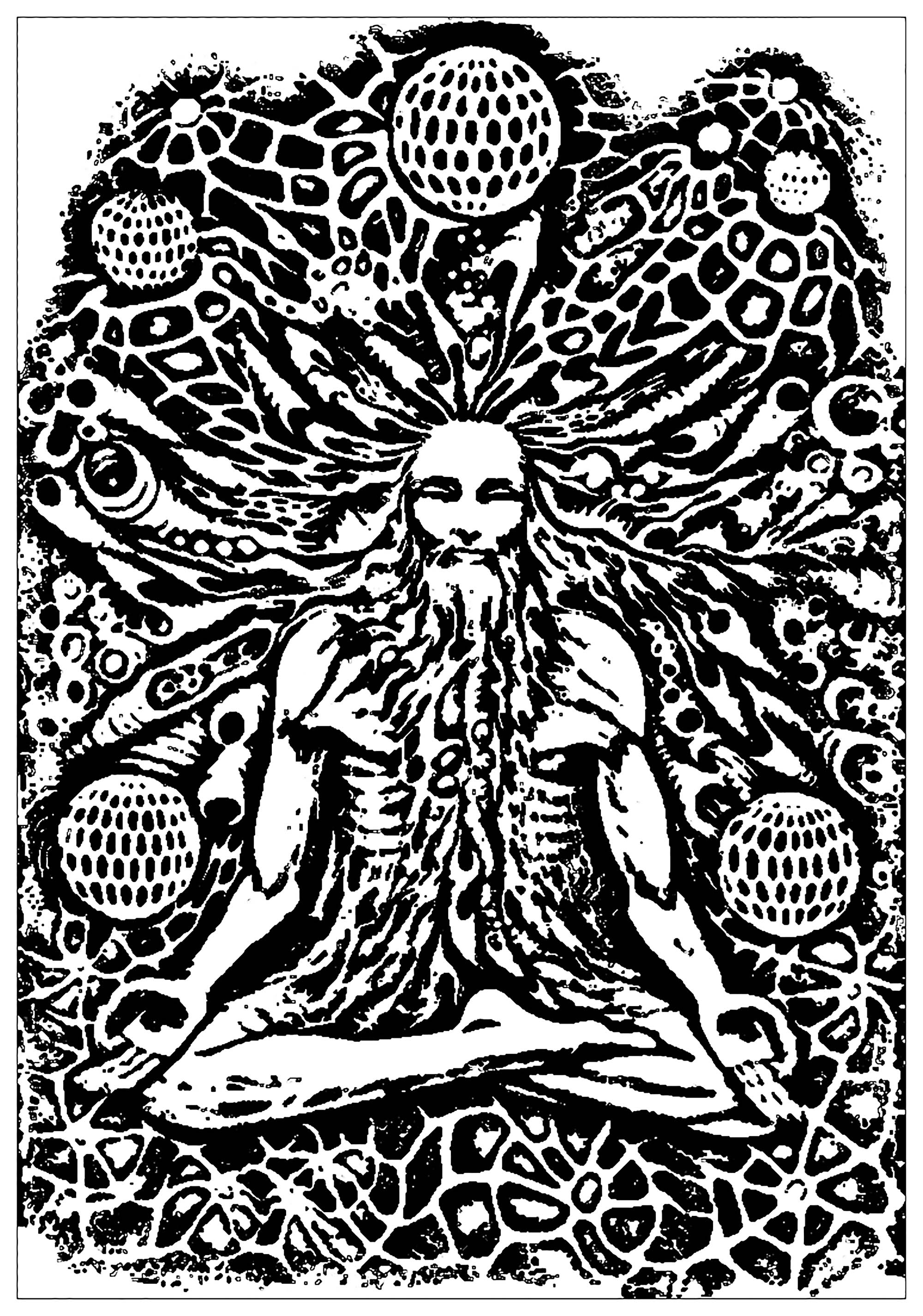 Psychedelic Monk Meditation Psychedelic Adult Coloring Pages