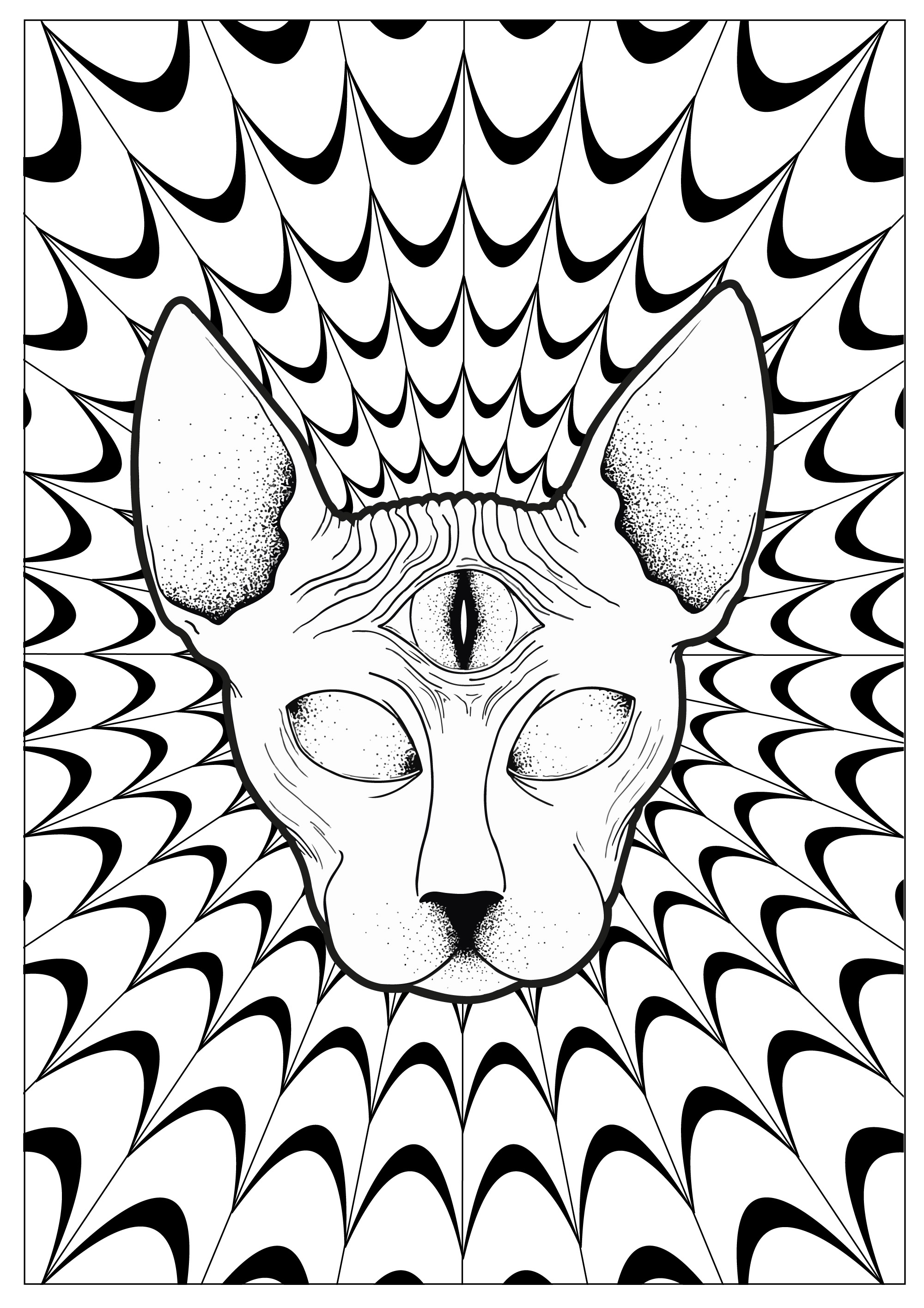 Coloring Page : Cat Psychedelic Sphynx. A Sphinx With The Third Eye, On A  Psychedelic Background