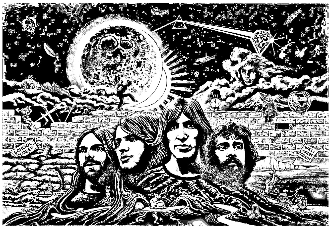 Pink floyd psychedelism psychedelic adult coloring pages for Poster psichedelici