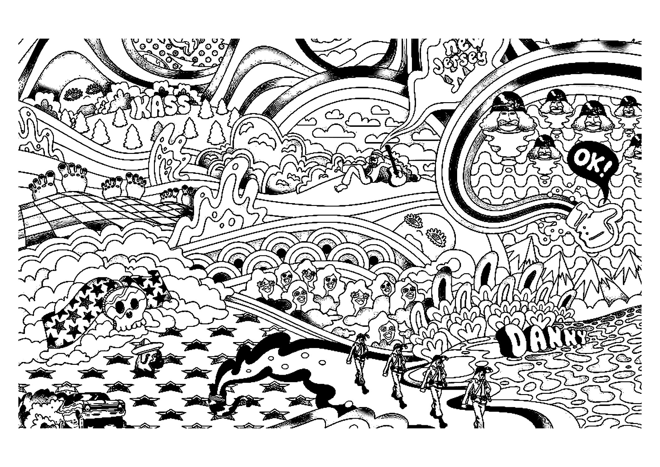 Psychedelic landscape and characters psychedelic adult for Printable psychedelic coloring pages