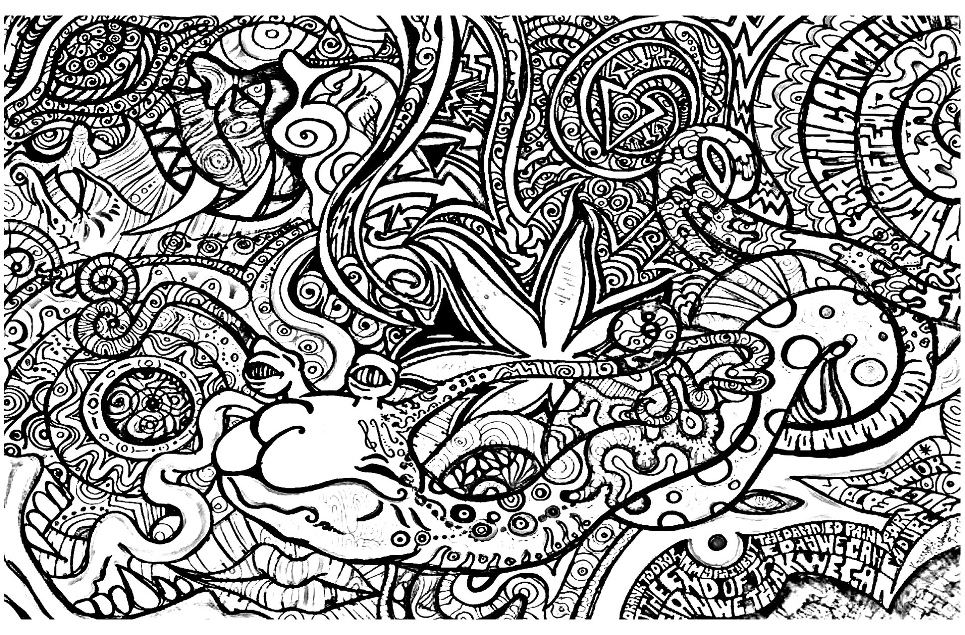 Strange creature and wacky objects psychedelic adult for Printable psychedelic coloring pages