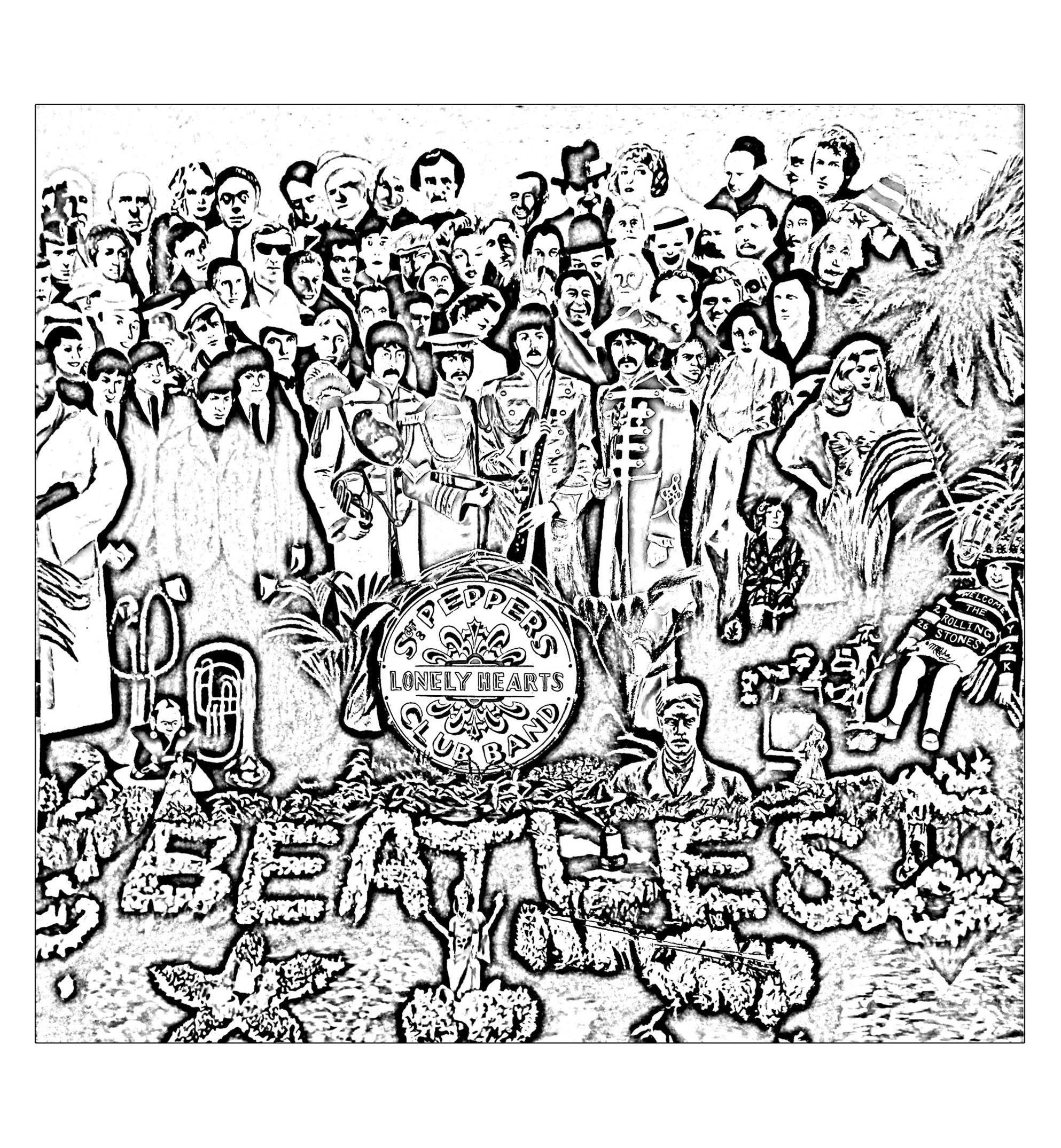 An adult coloring page inspired by The Beatles album : Sgt Peppers Lonely Hearts Club band