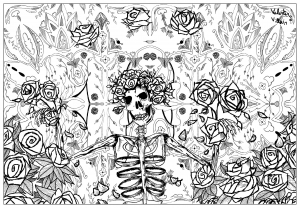 coloring page adult grateful dead art by valentin free