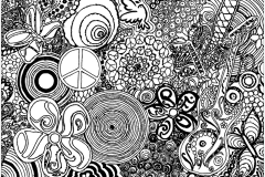 Coloring page adult psychedelic patterns music and peace