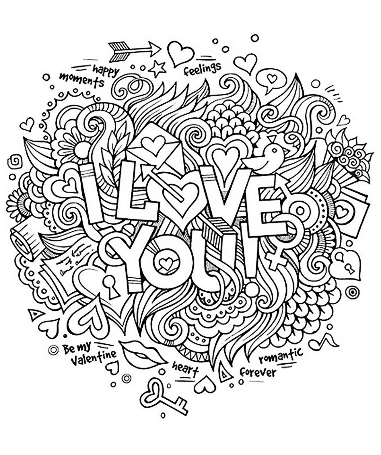 love coloring page i love you in a doodle