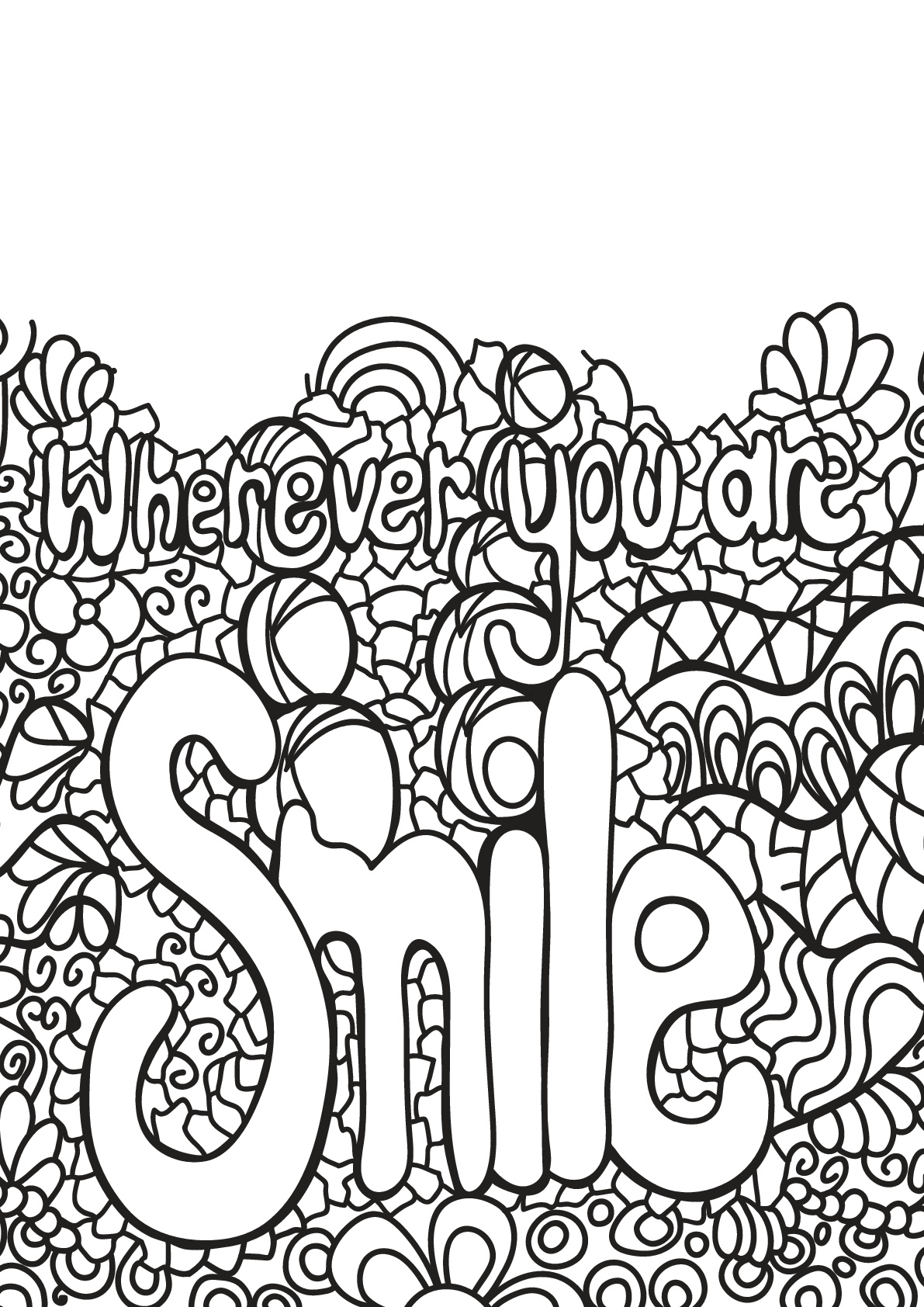 Coloring Free Book Quote 3 Smile