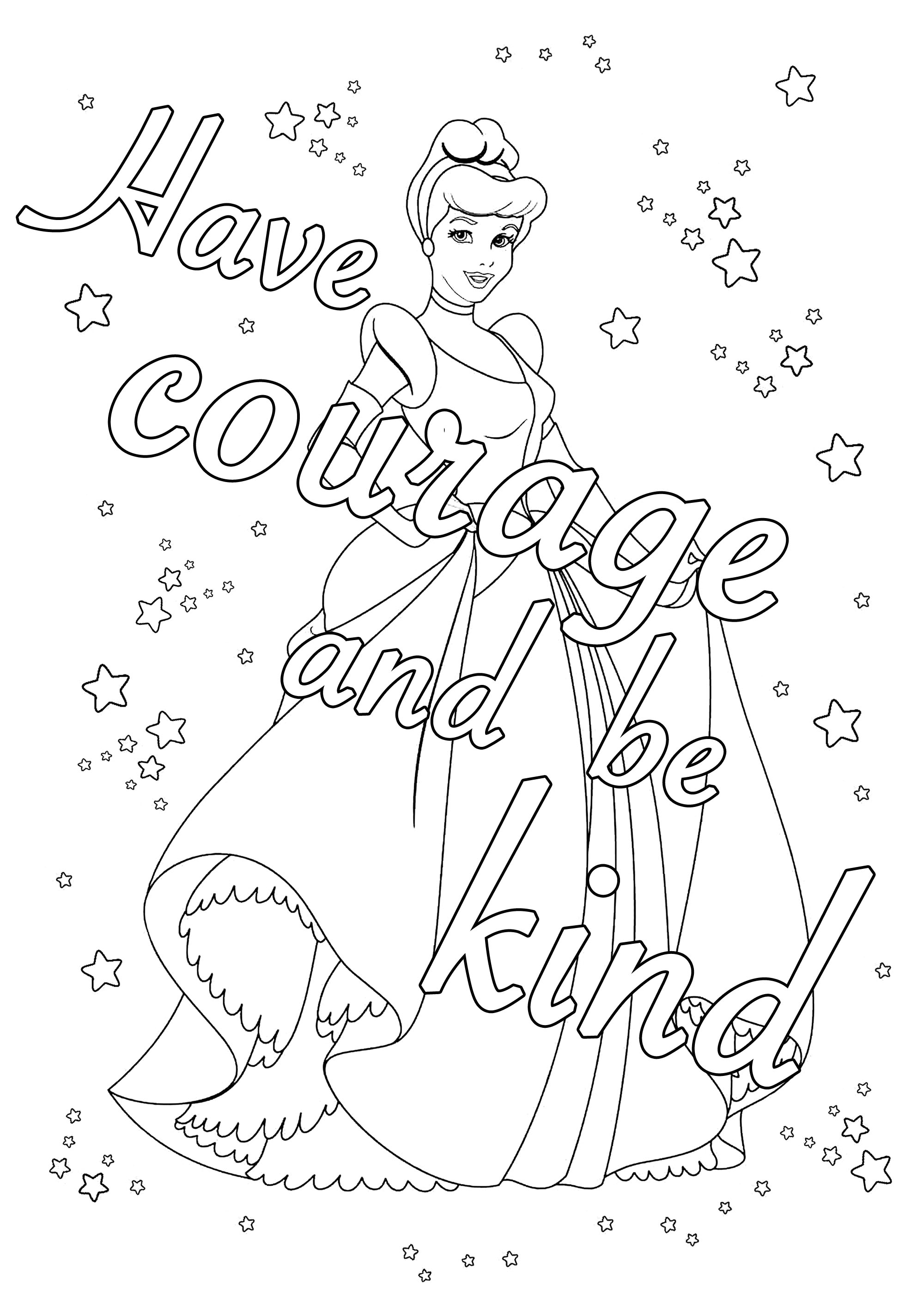 Have Courage And Be Kind From Cinderella Positive Inspiring Quotes Adult Coloring Pages