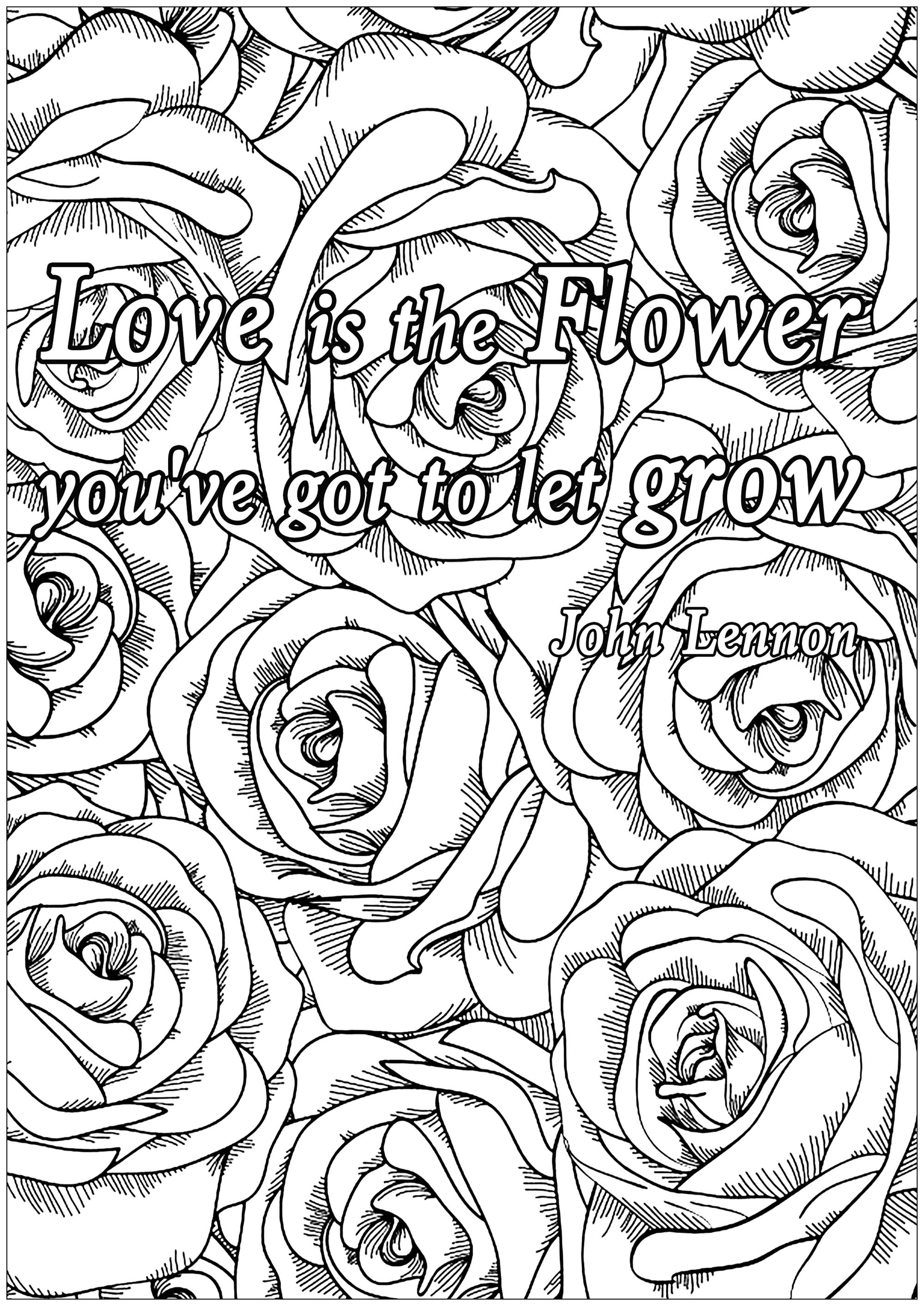 Love is the flower Quotes Adult Coloring Pages