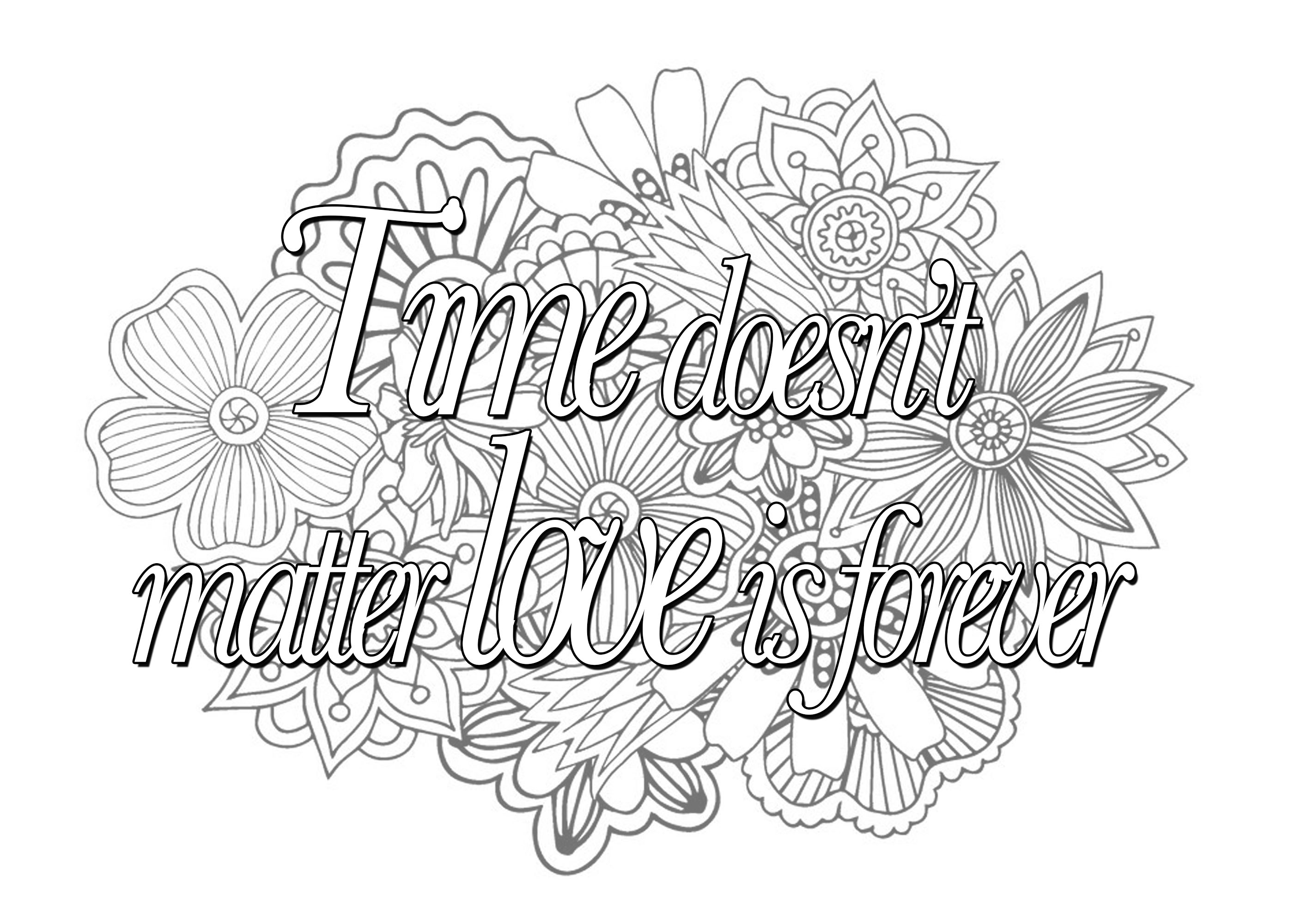 Quote time doesnt matter love is forever - Quotes Adult Coloring Pages