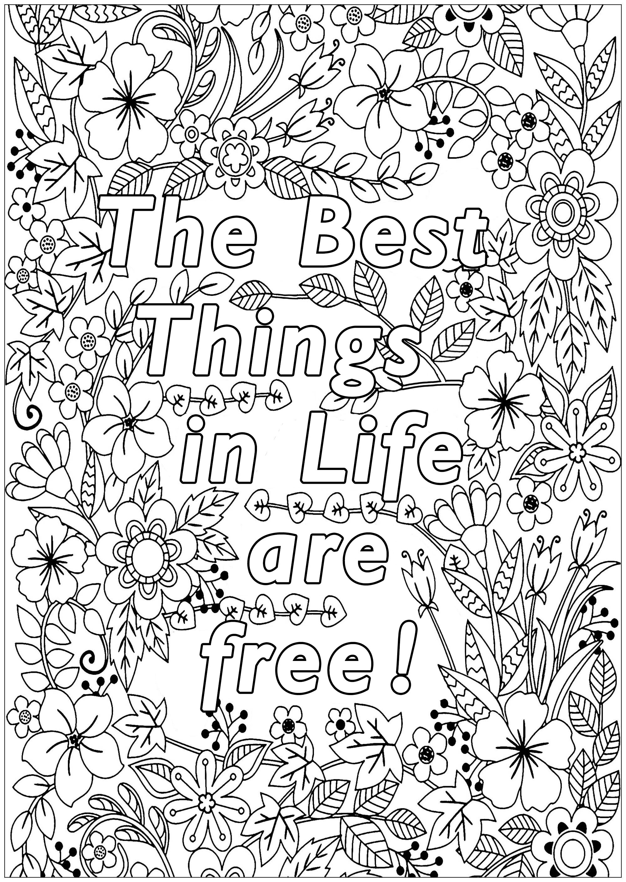 The Best Things In Life Are Free Quotes Adult Coloring Pages
