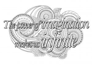 Coloring quote the power of imagination makes us infinite