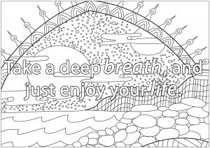 Deep breathing coloring pages ~ Quotes - Coloring Pages for Adults