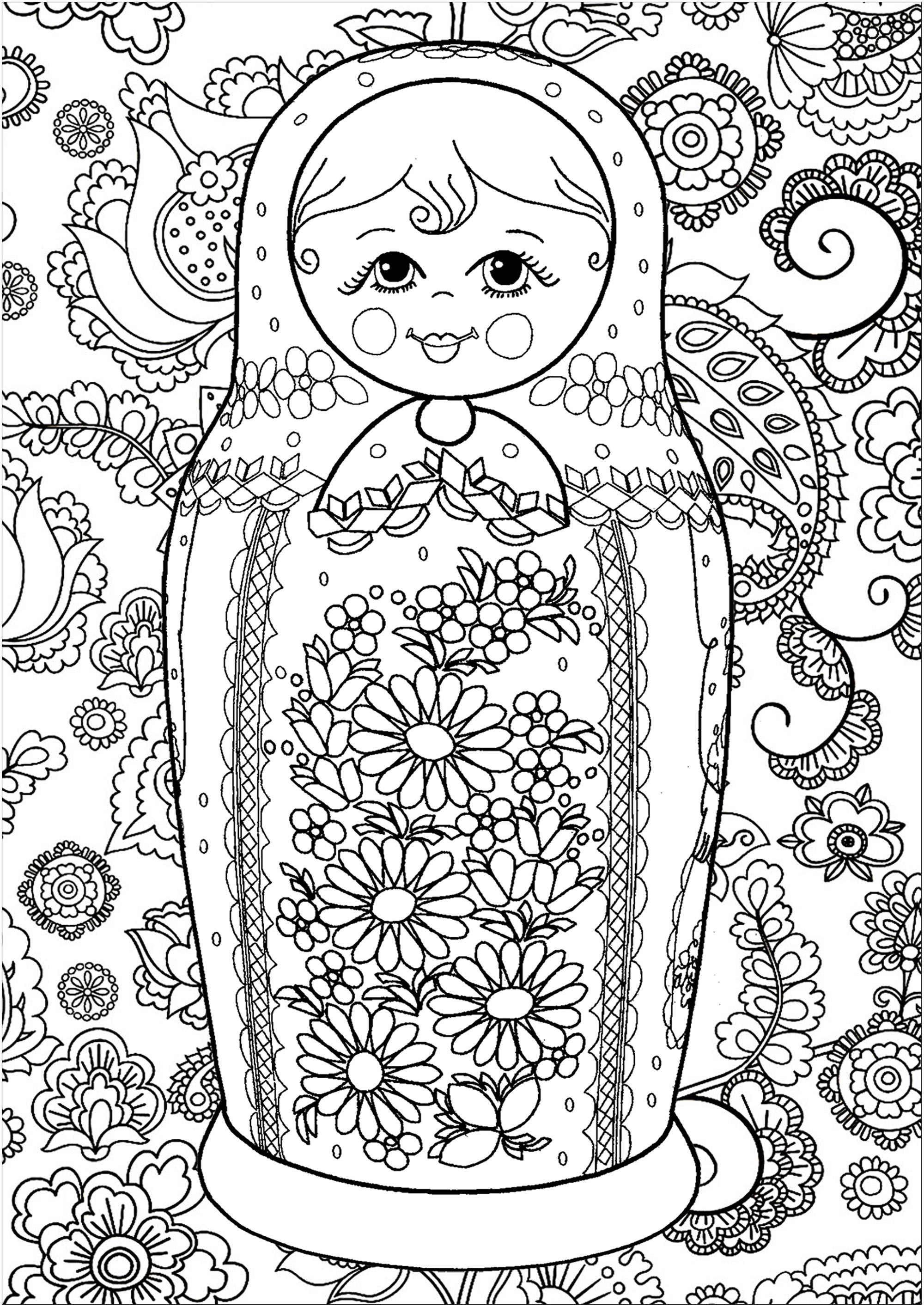 Beautiful flowers inside and outside a simple and smiling russian doll