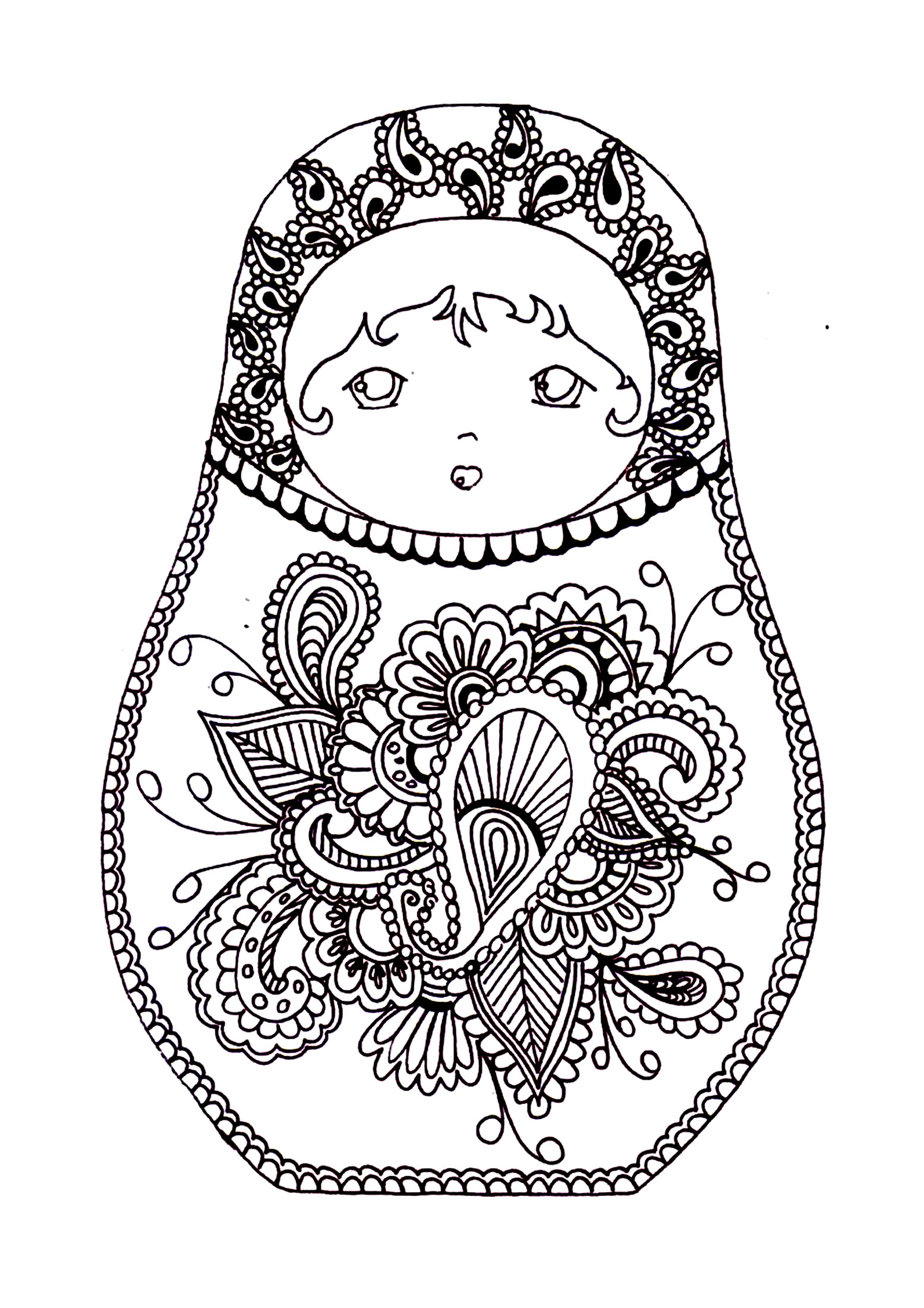 Russian dolls 2 Russian dolls Adult Coloring Pages