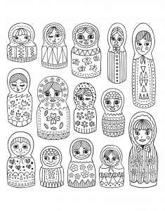 Coloring adult cute russian dolls