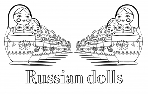 Coloring page adult russian dolls perspective double with text