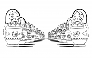 coloring page adult russian dolls perspective double