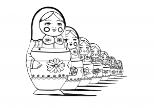 Coloring page adult russian dolls perspective