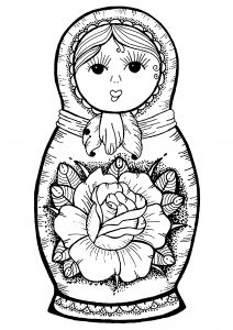 Russian doll with big flower in the middle