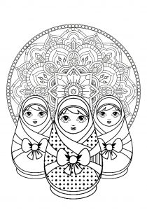 Three Russian dolls with beautiful Mandala in background