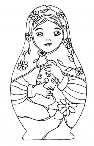 coloring-russian-dolls-12 free to print