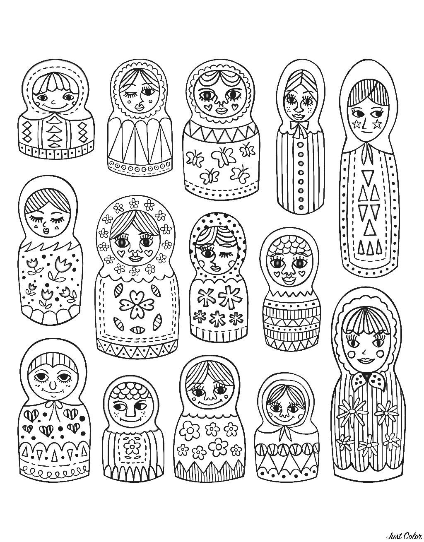 Cute Matryoshka dolls, different styles