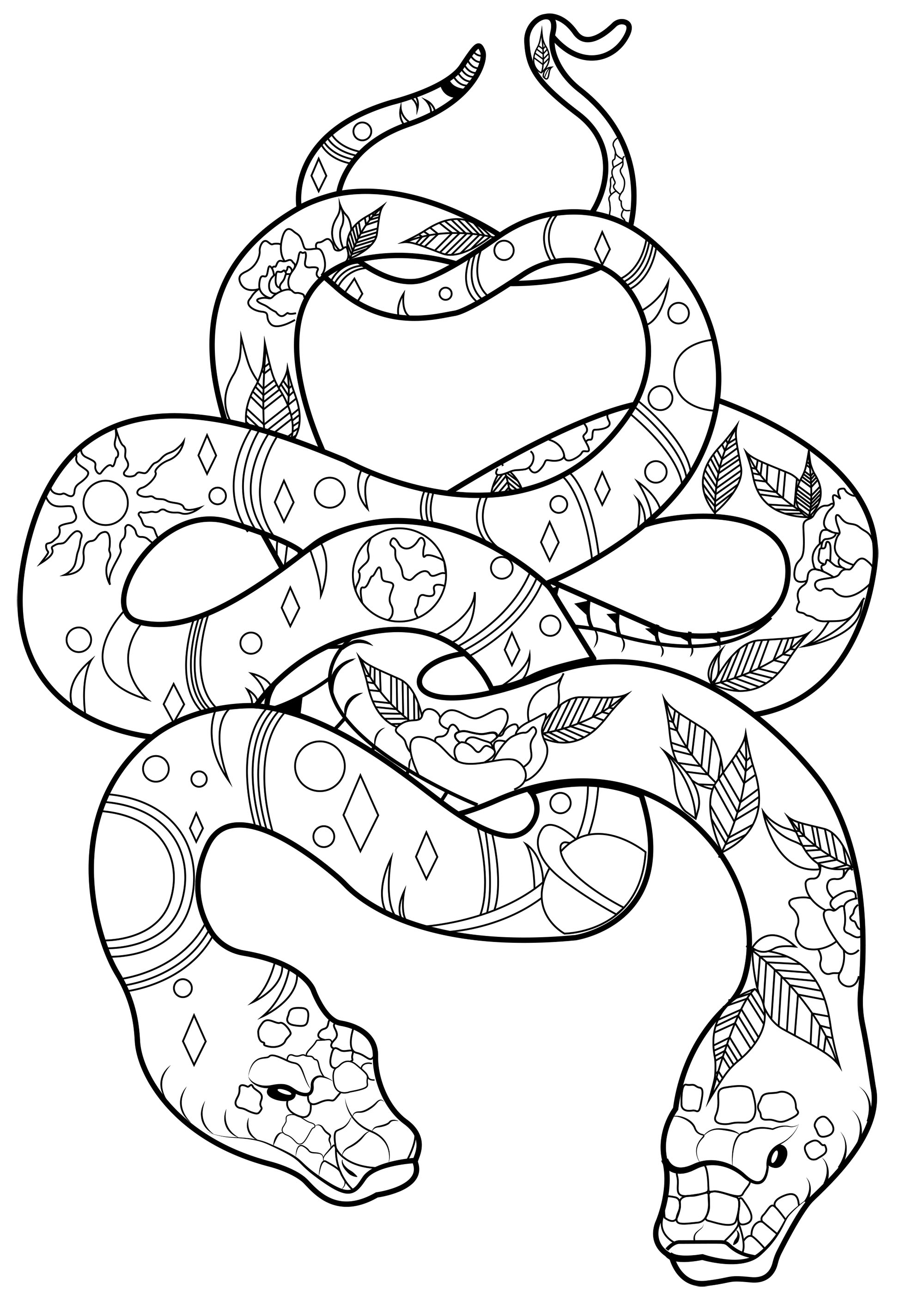 Two magnificent and elegant snakes, linked together, and full of cool patterns to color
