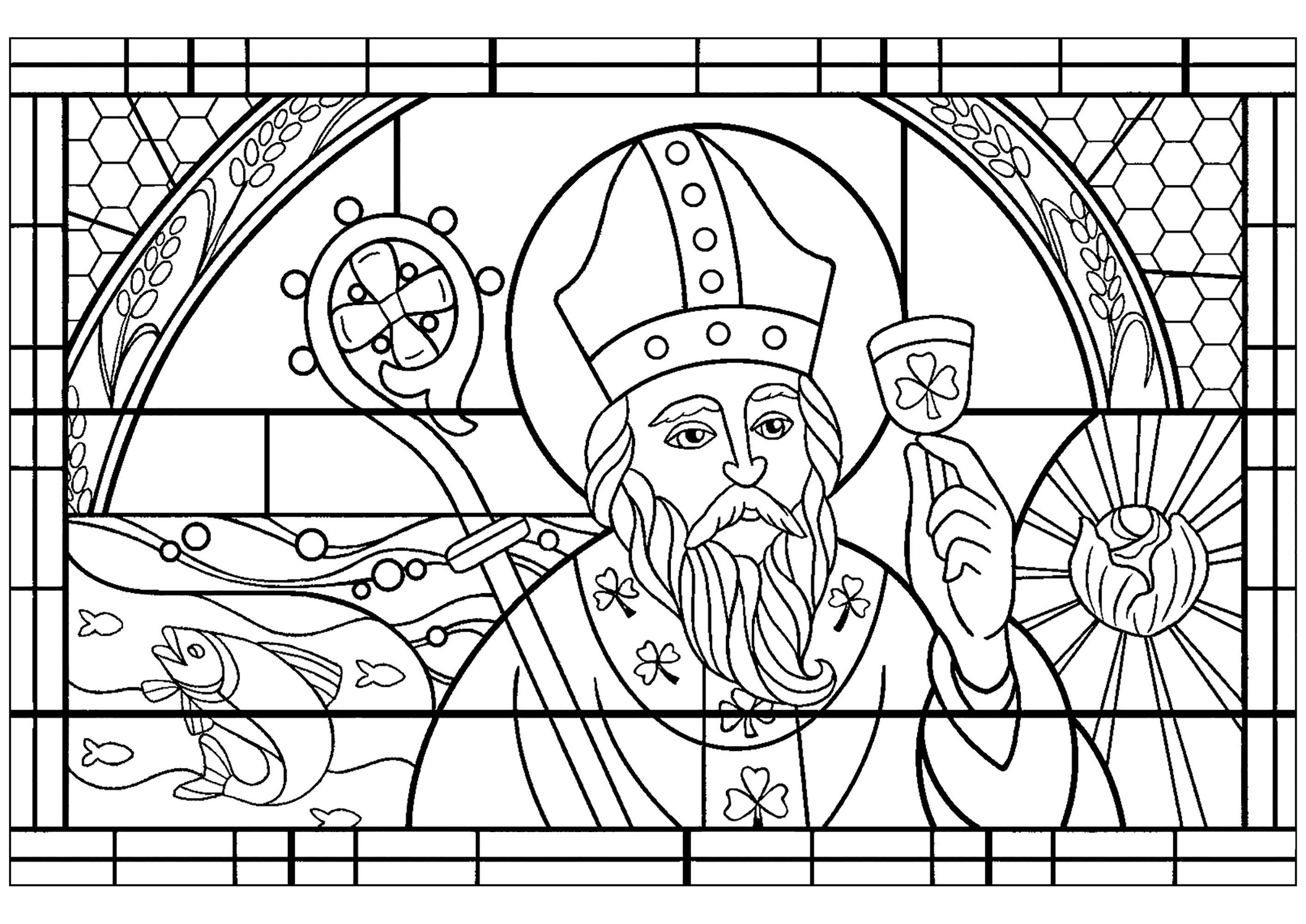 Saint Patricks Day Coloring Page Stained Glass Style From An Nprorg Illustration