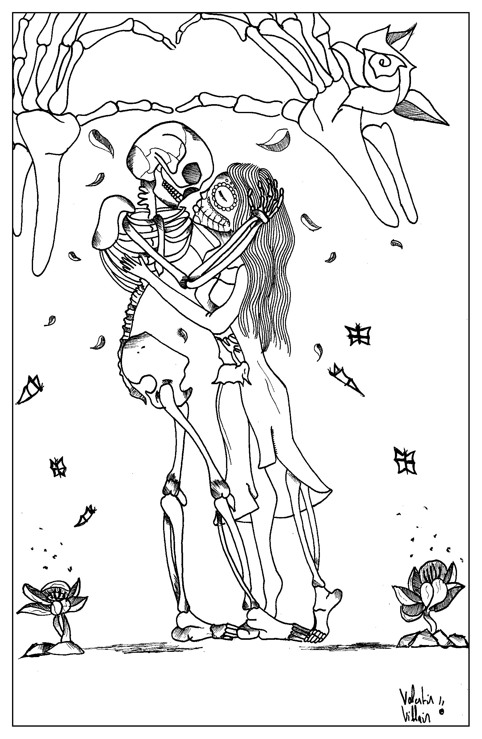 A coloring page for Valentine's Day with a very particular style