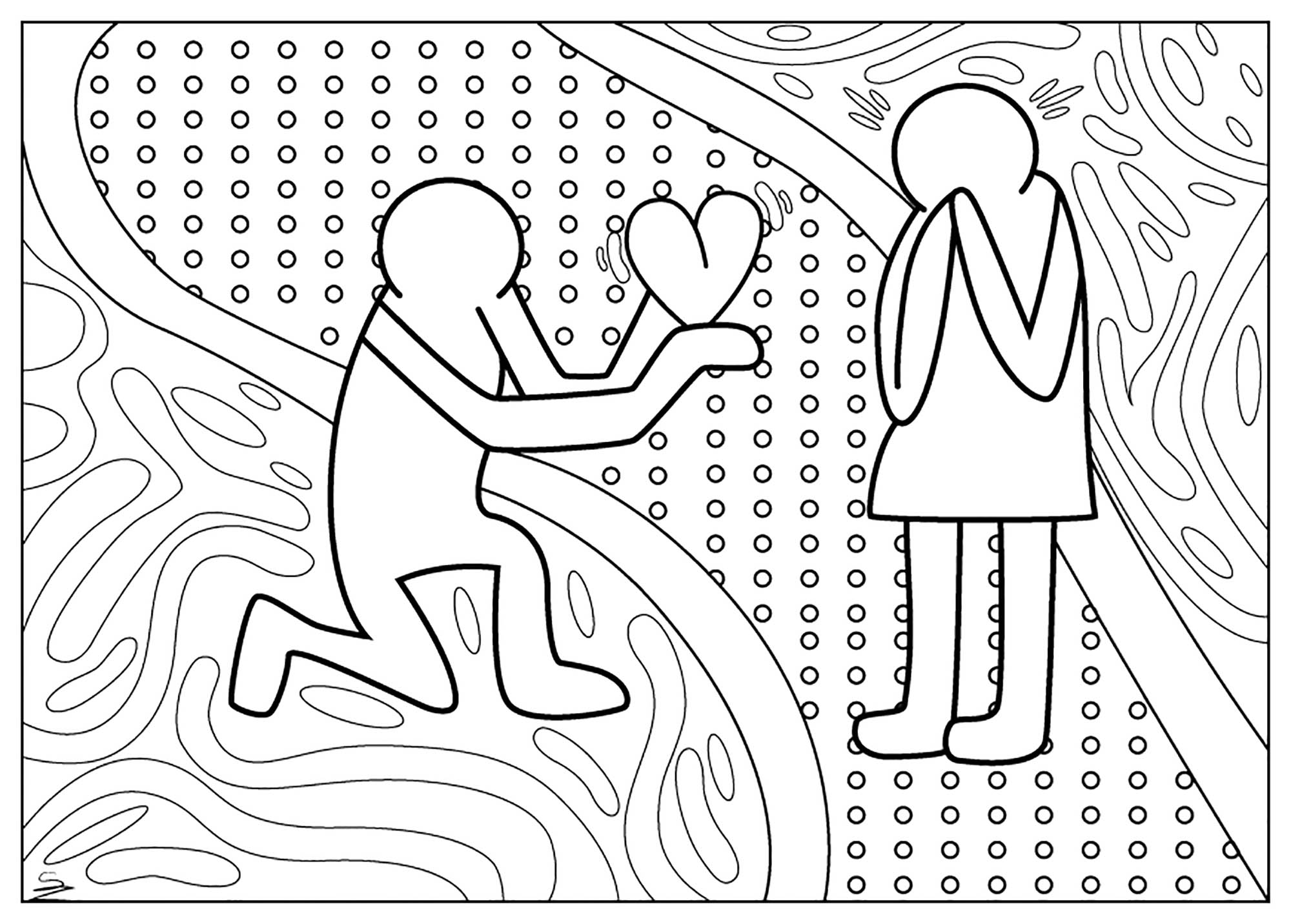 Coloring page adult valentine keith haring day by juline