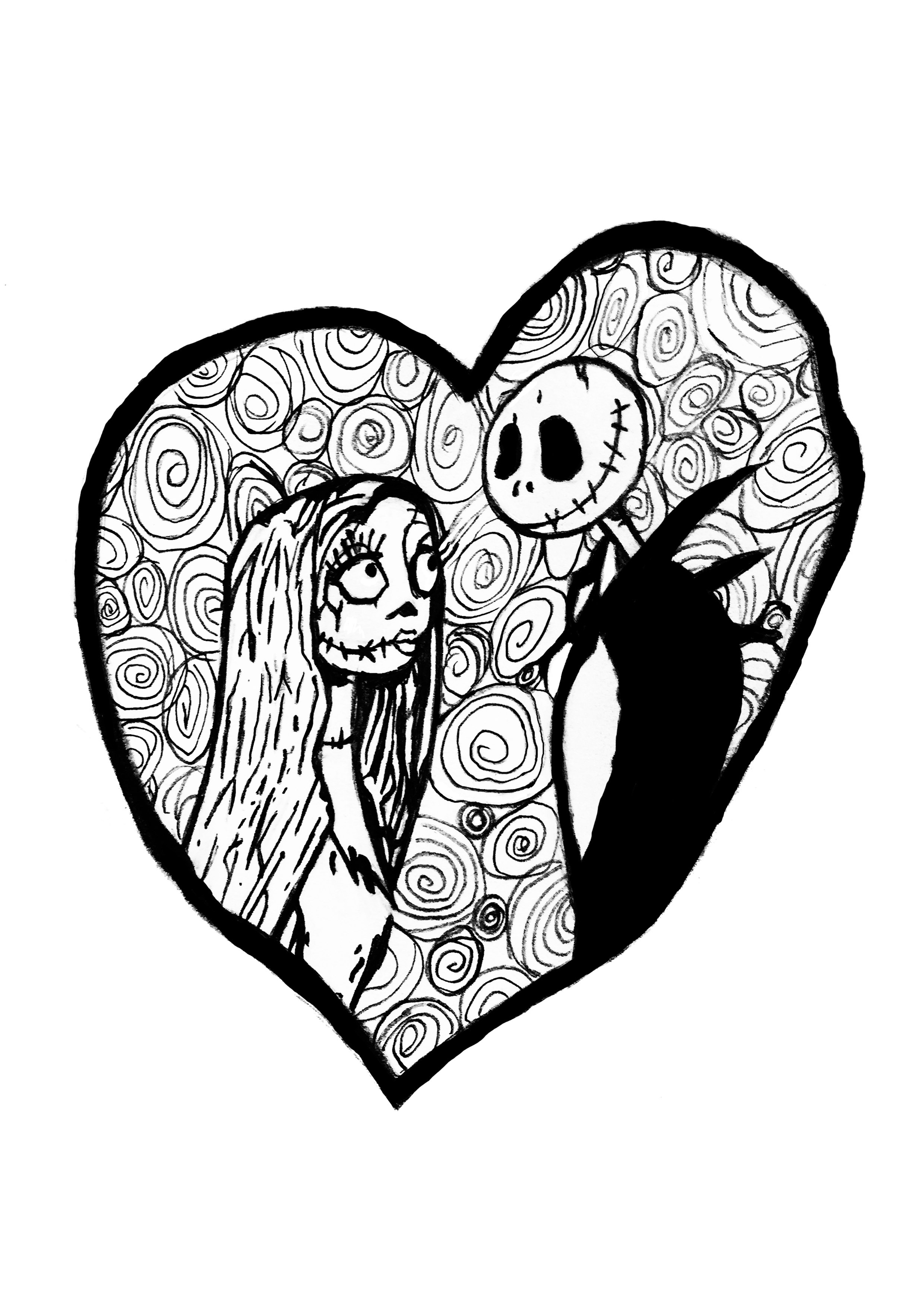 jack sally from the movie tim burtons the nightmare before christmas together in a coloring page for the valentines day