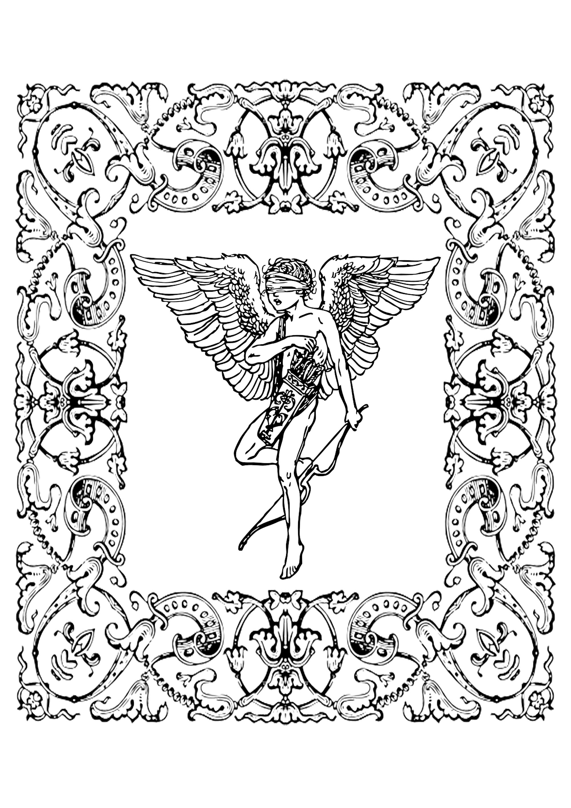 Vintage Cupidon drawing in a flowered frame