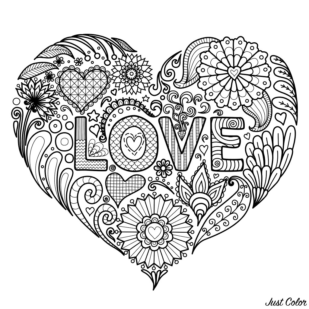 A beautiful Heart with flowers and the text 'LOVE' to color