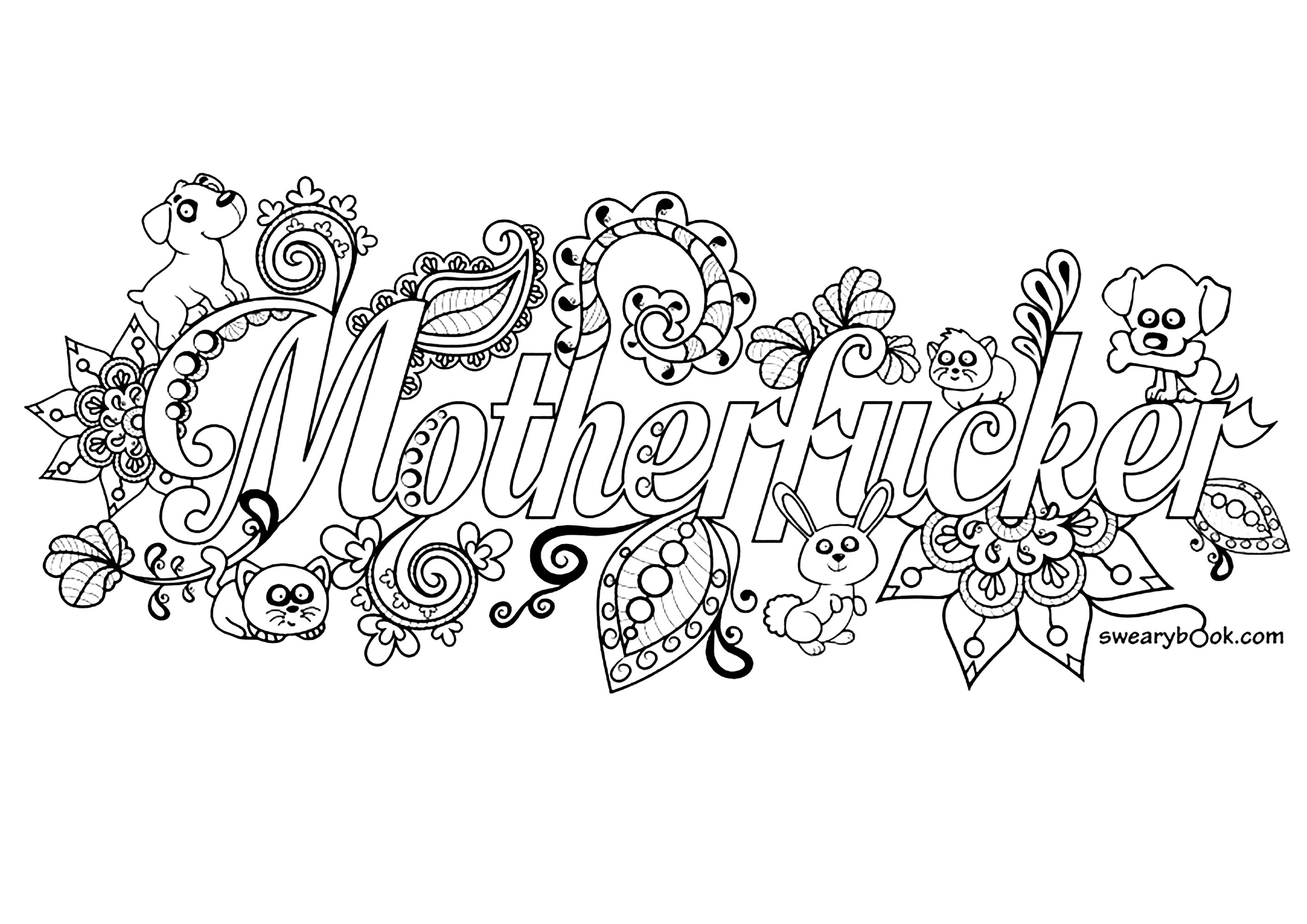 Motherfucker Swear Word Coloring Page Swear Word Adult Coloring