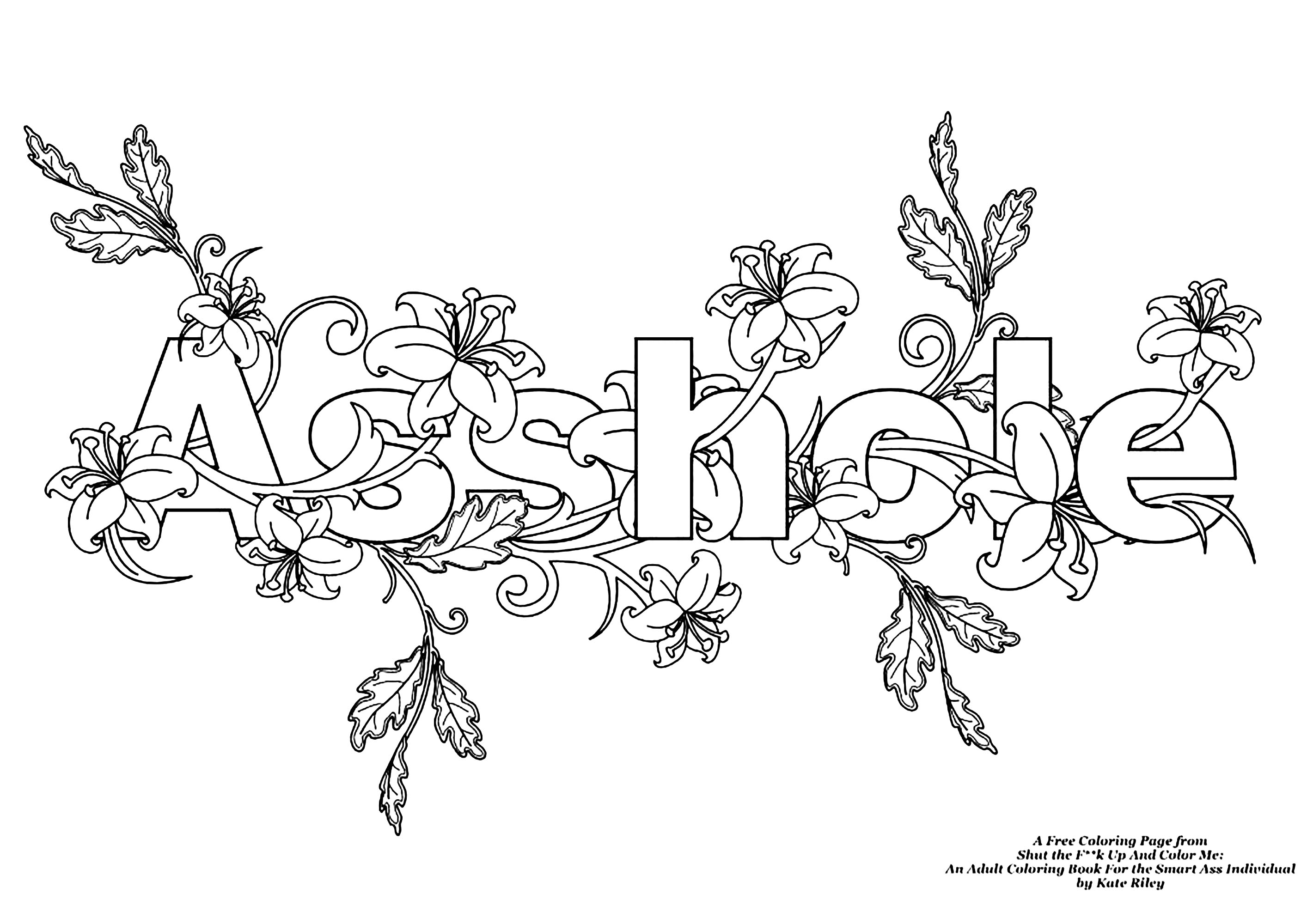 Assholeswear Word Coloring Page Swear Word Adult Coloring Pages