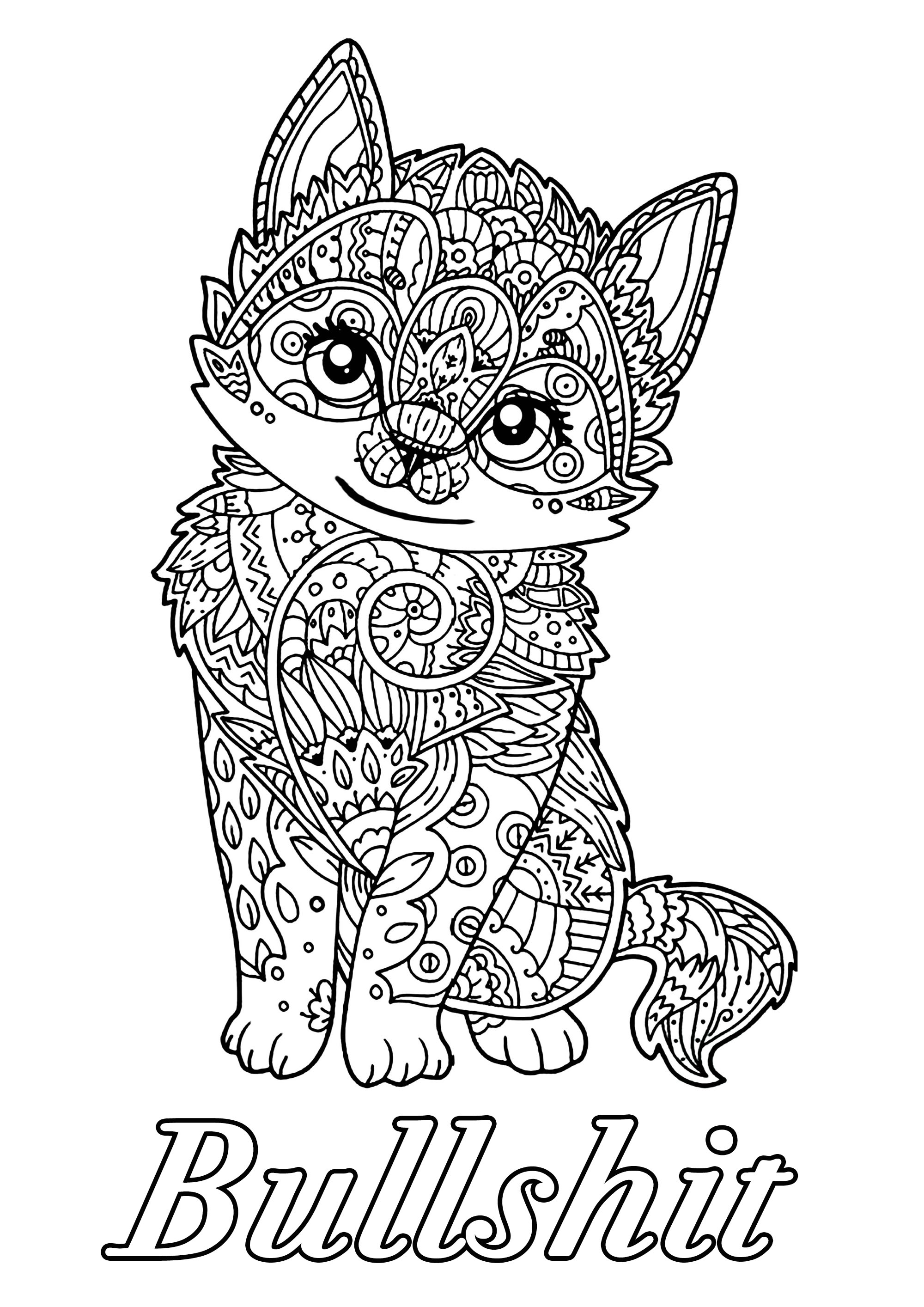 Bullshit : Swear word coloring page with cute kitten