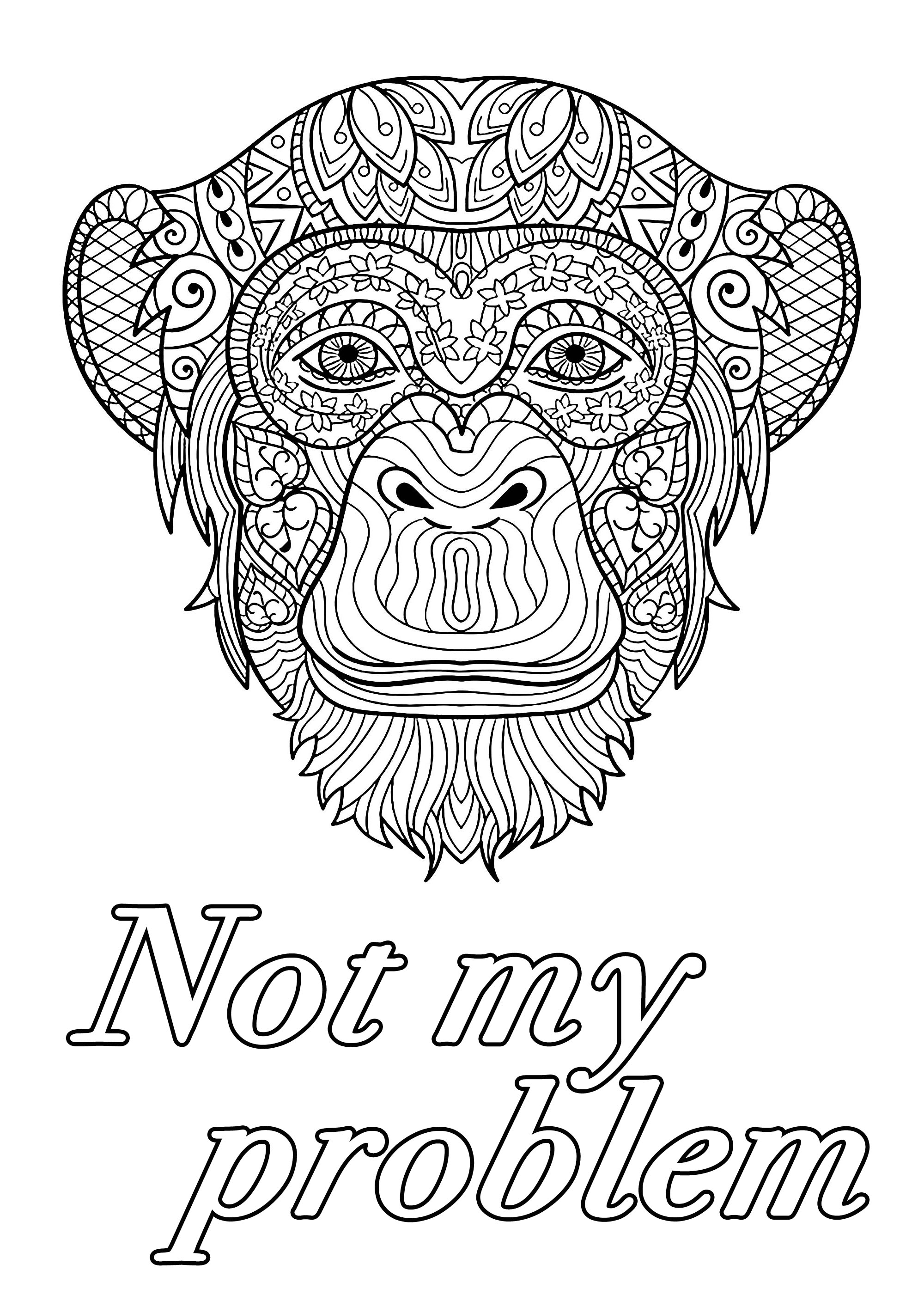Not My Problem Swear Word Coloring Page Swear Word Adult