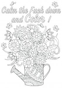 Calm the Fuck down and Color ! (Swear word coloring page)