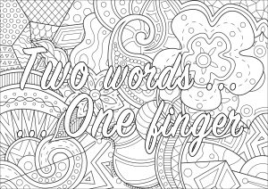 Two words ... one finger (Swear word coloring page)