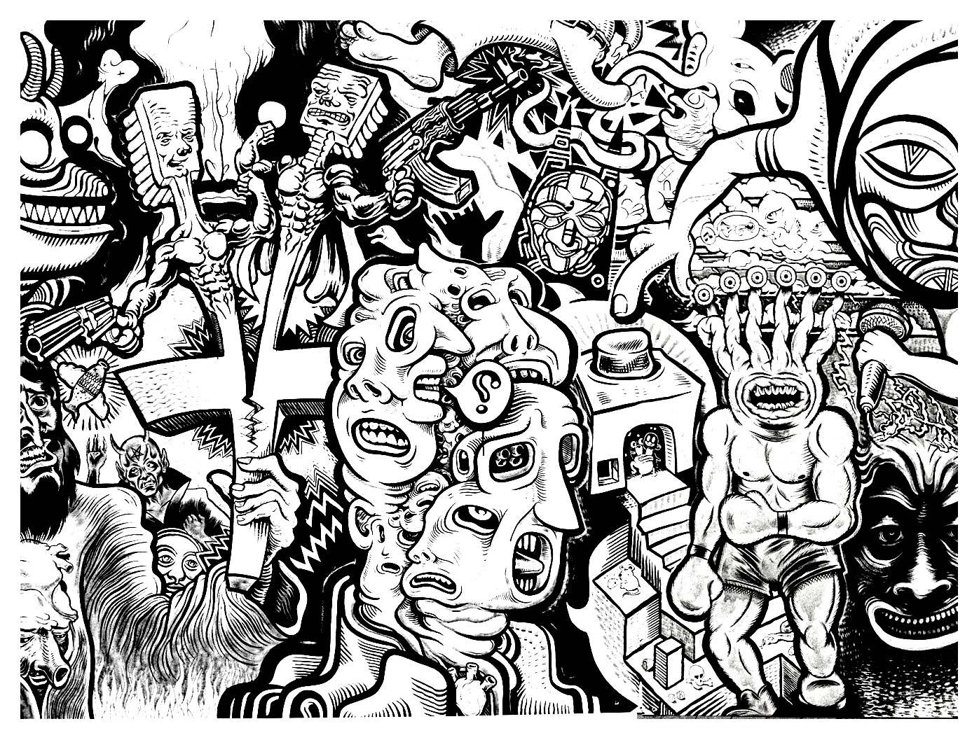 Fresco tags 2 - Street Art Adult Coloring Pages