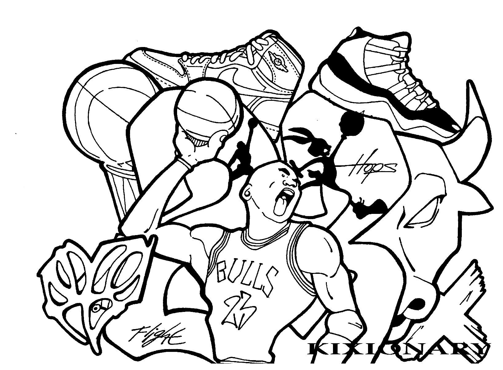 Coloring pictures for adults - Coloring Adult Graffiti Michael Jordan By Kixionary World Free